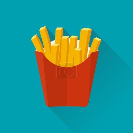 Illustration pour Des frites. Illustration vectorielle, design plat. Frites dans une boîte en papier. Frites dans un design plat isolé avec une longue ombre. Frites frites fast food. Frites dans un paquet rouge . - image libre de droit