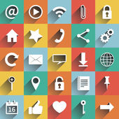Social media icons Web and mobile app White icon with long shadows with colored squares Vector  illustration design elements web site Flat design Set of social media buttons