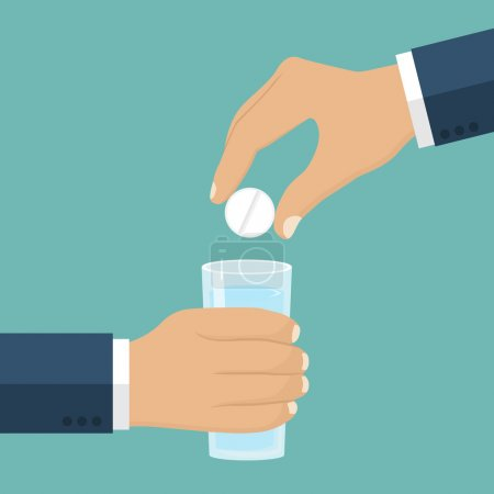 Illustration for Taking the pills. Man holds in hands the pills and a glass of water. Vector illustration flat design. Take painkillers pills. Medical treatment concept. Healthcare. Taking medical drugs. - Royalty Free Image