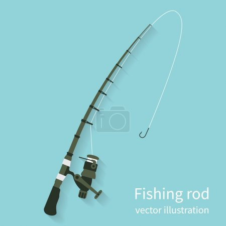 Illustration for Fishing rod, vector illustration flat design style. Fishing equipment. Rod spinning isolate on background with shadow. Icon rods. - Royalty Free Image