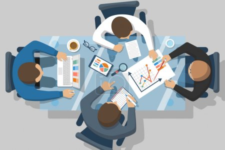 Illustration for Data analysis concept. Business people team analyzes the financial growth, research statistics on the chart. Planning strategy. Meeting businessmen, teamwork. Vector illustration flat design. - Royalty Free Image