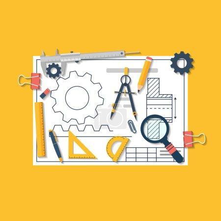 Photo pour Illustration vectorielle d'ingénierie design plat. Projet architectural. Projet d'ingénierie. Outils de dessin. Plan directeur technique . - image libre de droit