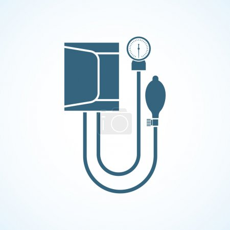 Illustration pour Tension artérielle. Icône tonomètre isolé sur fond. Mesure de la pression artérielle médicale. Illustration vectorielle d'un dessin plat. Matériel médical . - image libre de droit