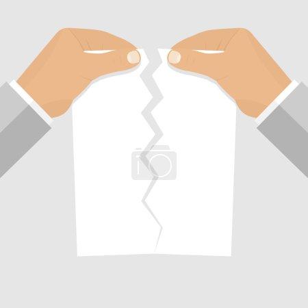 Illustration pour Mains masculines déchirant une feuille de papier vierge. Illustration vectorielle de style design plat. Feuille de papier vierge déchirée entre les mains d'un homme d'affaires. Cessation d'emploi. Modèle pour les projets web . - image libre de droit