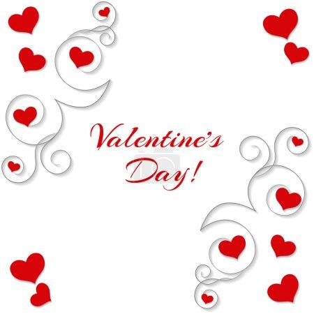 Illustration pour Fond abstrait avec des cœurs et des ornements. Pour la Saint-Valentin, mariages, dates. Peut être utilisé comme cartes de vœux, pancartes, bannières . - image libre de droit