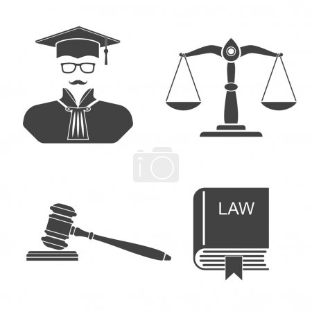 Illustration for Icons on a white background scales, balance,  gavel, book laws,  judge. Set icons law and justice. Vector illustration. Signs, symbols, elements for design and background. - Royalty Free Image