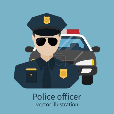 Illustration pour Officier Avatar. Illustration vectorielle, design plat. Officier de police avec voiture en arrière-plan. Police, policier, shérif, police. Symbole de sécurité, de loi et d'ordre . - image libre de droit