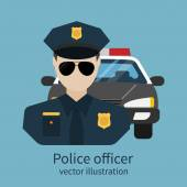 Police officer avatar Vector illustration flat design Police officer with car on background Cop policeman sheriff enforcement Symbol of security law and order