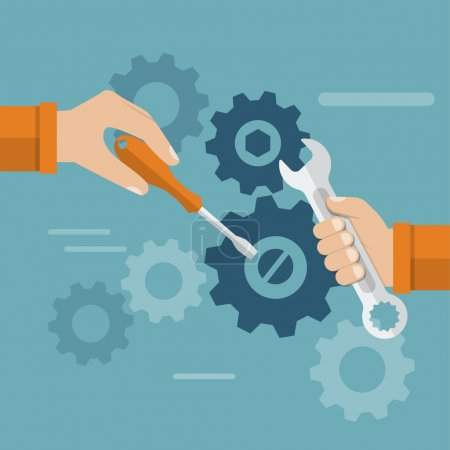 Illustration for Teamwork. Hands team with a tool to repair mechanism. Sleek design, vector illustration. Concept teamwork , brainstorming. Development and motivation to work together. - Royalty Free Image