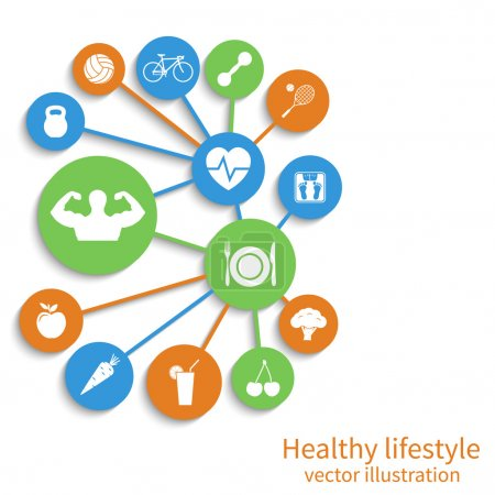 Illustration for Healthy lifestyle background. Concept health, sport. Vector illustration - Royalty Free Image
