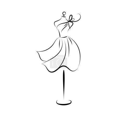 dummy dress hand drawing contour