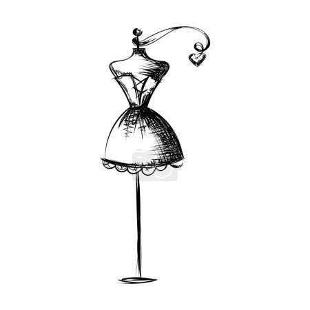 Illustration pour Robe de bal mannequin court dessin à la main illustration sur un fond blanc - image libre de droit