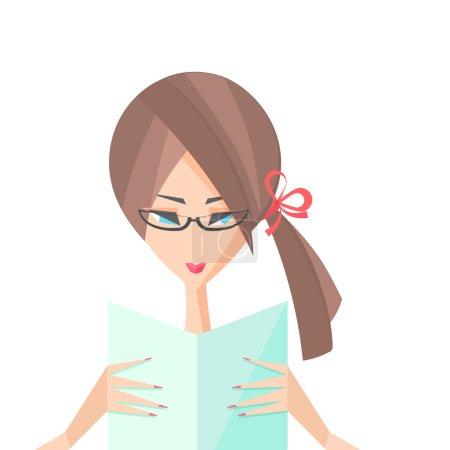 Illustration pour Fille dans un lunettes lit un livre de lettres vecteur - image libre de droit
