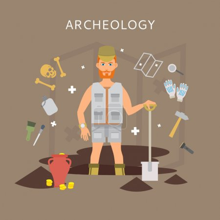 Archeology vector flat illustrations. Archaeologist, map, magnifier, shovel, pick, vector symbols. Vector treasure hunt excavations. Archeology vector symbols