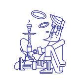 """Постер, картина, фотообои """"Мужчина курит кальян. Кальян векторные иллюстрации. Битник горит кальян"""""""