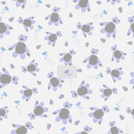 Gentle seamless pattern with Teddy bears, buds and flowers. Nice quiet background with toys for kids
