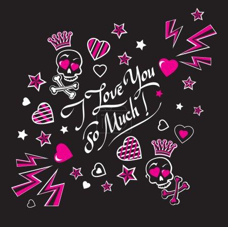 Illustration pour Carte d'illustration noire et rose sombre confession d'amour avec des amants drôles crânes couronnés avec des os croisés et des lettres Je t'aime tellement - image libre de droit