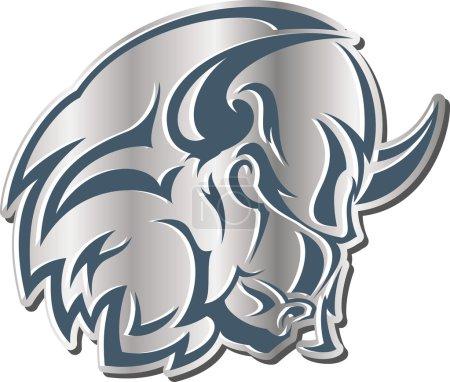 Illustration pour Illustration vectorielle monochrome - icône : la tête d'un taureau fort, extrêmement furieux et dangereux - image libre de droit