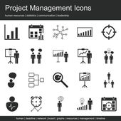 Modern Web Symbol Collection Of Project Management Human Resources, Communication And Statistics Icon Set.