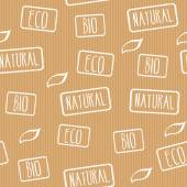 Seamless vector texture Kraft paper with stamps eco natural bio Ready design for wrapping paper products with eco label Business background