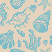 Seamless pattern with hand drawn seashells Marine background Vector vintage texture with seashells coral sea horse starfish