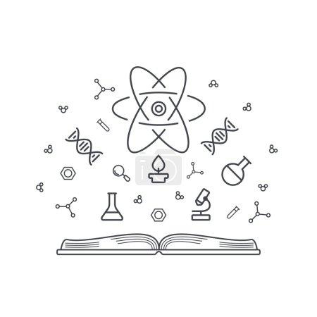 Photo pour Base de connaissances sur les concepts scientifiques livre ouvert avec des éléments chimiques et physiques de l'énergie, l'ADN, le microscope, les atomes, les molécules. Vecteur de style ligne pour votre site Web ou impression - image libre de droit