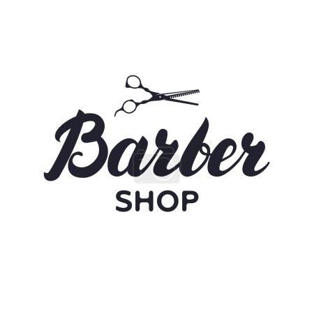 Logotype, label, badge for barbershop, hair salon with scissors.