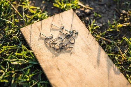 fishing hooks on wooden plank