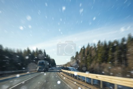 Winter road. Motion blur