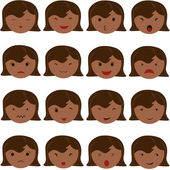 Emoticon icons set of cute girl with various emotions, emoji, facial, feeling, mood, personality, symbol African American, Asian, Indian