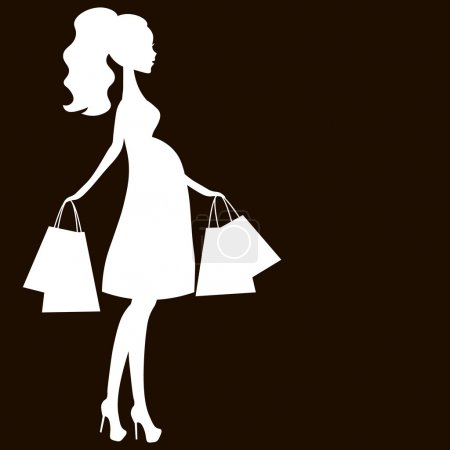 vector illustration of modern pregnant mommy, the woman does the shopping online store, logo, silhouette, stylized symbol of mother's, sale icon white on black background