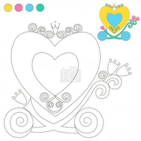 Coloring Book or Page Cartoon Illustration carriage Princess for Children Education.  vector to be traced. Restore dashed line and color the picture. Trace game for children