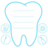 Tooth white and blue background teeth vector icon illustration first tooth logo mockup place for text dental care concept