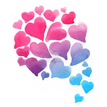 Photo pour Aquarelle d'amour coeur, fond mignon Valentin - image libre de droit