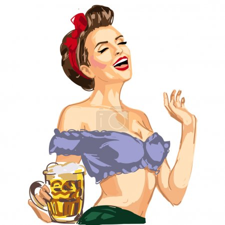 Pin up waitress hanging beer