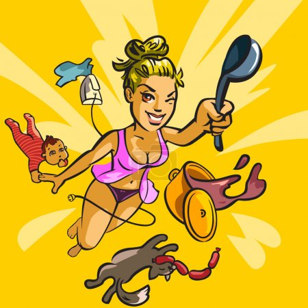 Vector illustration of housewife
