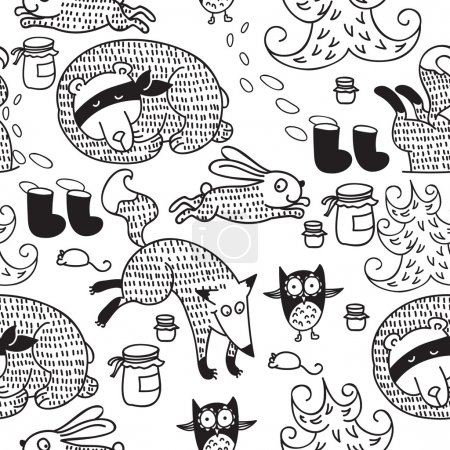 Cute doodle animals in winter forest, outline vect...