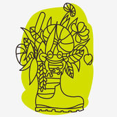 Rubber boot with plants and frog outline vector illustration