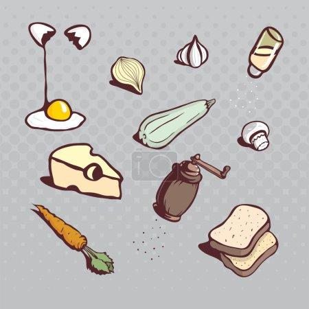 Kitchen icons. Dish ingredients. Hand drawn cartooned illustrati