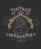 Retro styl západní plakát s revolverem