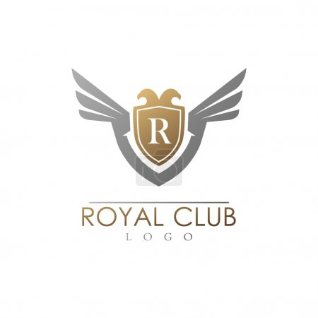 Luxury vector logo template with shield and wings.