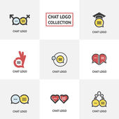 Vector collection of talking speaking and communication icons signs and symbols Chat logotype collection