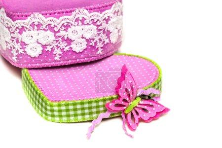 Photo pour Papillon rose sur la boîte dans les couleurs du printemps - image libre de droit