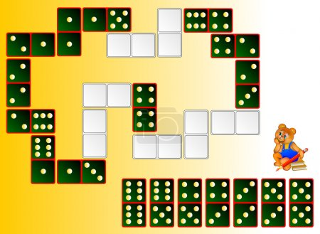 Logic puzzle. Draw the remaining dominoes at the correct places to close the circuit.