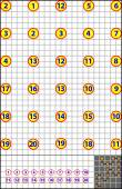 Logic puzzle on a square paper Find the way how to join numbers from 1 to 20 by vertical or horizontal line Developing children skills for counting Vector image
