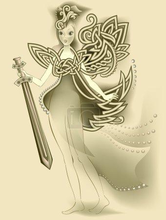 Illustration of magic Celtic fairy holding a sword.