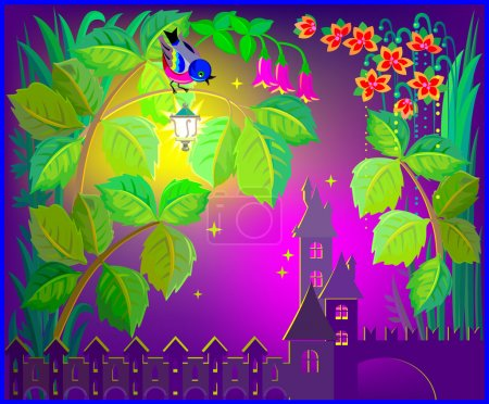 Illustration of fairyland fantasy castle.