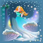 Illustration of beautiful fairy playing the violin in winter