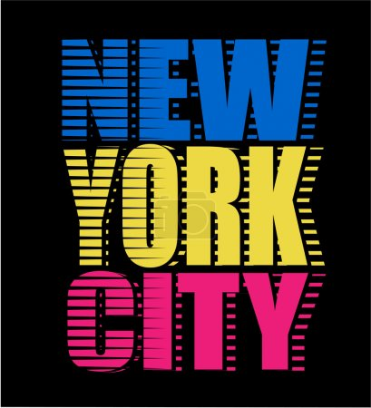 Illustration for New York City neon typography, t-shirt graphics, neon high light vectors - Royalty Free Image