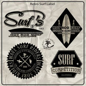 vintage surf elements labels